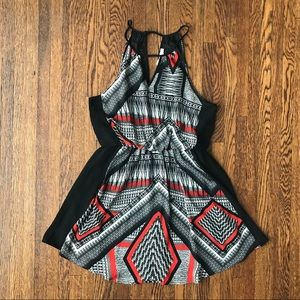Lush Black, White & Orange Tribal Keyhole Dress